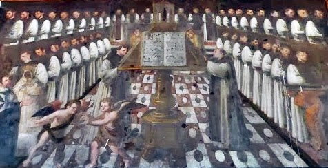 Muestra esta pintura los enormes libros con los que los monjes cantaban