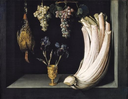 Bodegón con cardo, francolín, uvas y lirios - Felipe Ramírez