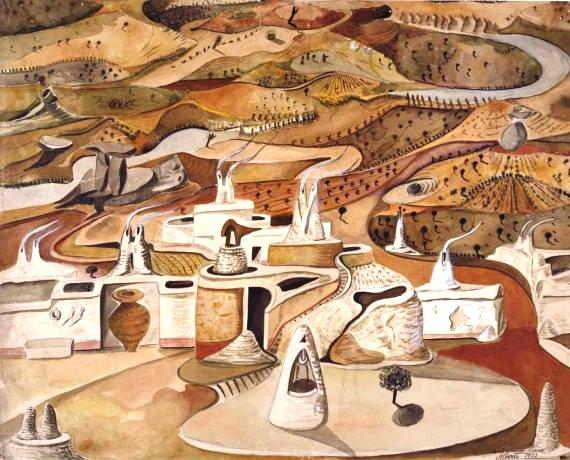 Boceto para el decorado central de Fuenteovejuna