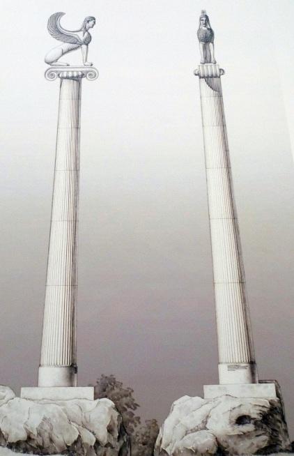 """Al parecer las dos """"Esfinges"""" se situaban en lo alto de estas columnas"""