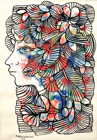 Cabeza de Mujer Ornamentada - Rene Portocarrero