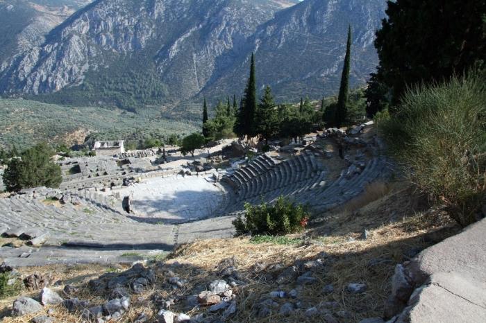 Preciosas vistas desde el sitio arqueológico de Delfos