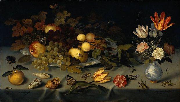Naturaleza muerta con frutas y flores