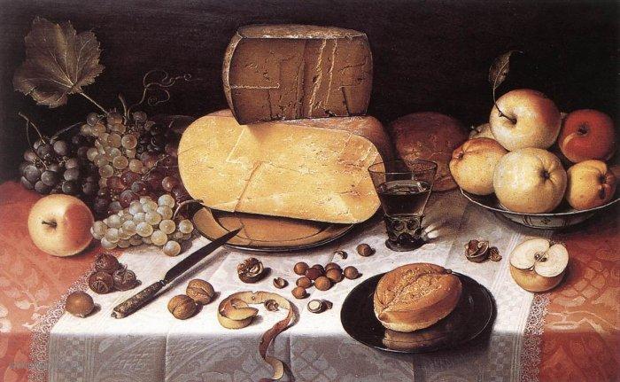 Naturaleza muerta con frutas, nueces y queso