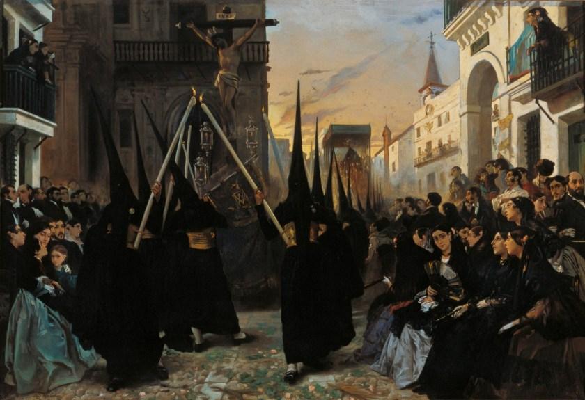 Una cofradía pasando por la calle Génova - Museo Carmen Thyssen