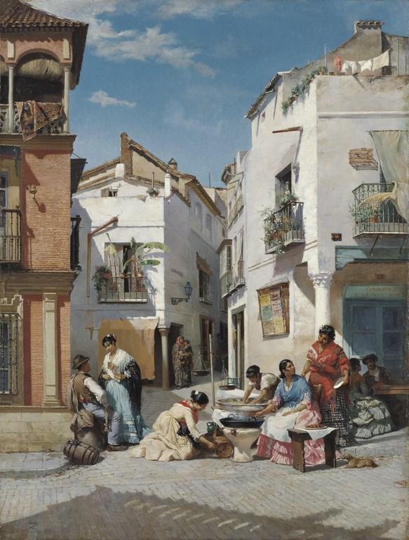 Vendedoras de rosquillas en un rincón de Sevilla - Museo Carmen Thyssen