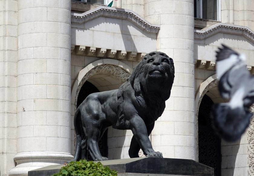 Uno de los leones del Palacio de Justicia