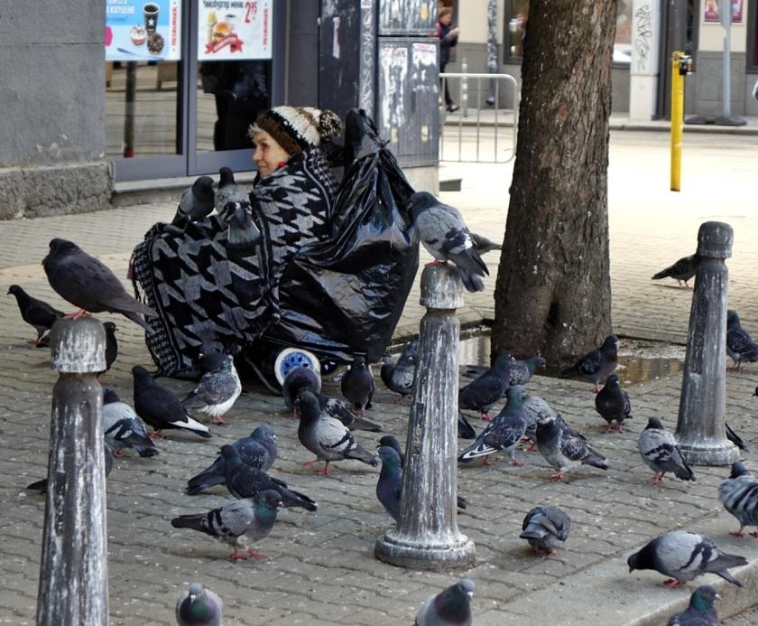 Una señora rodeada de sus palomas