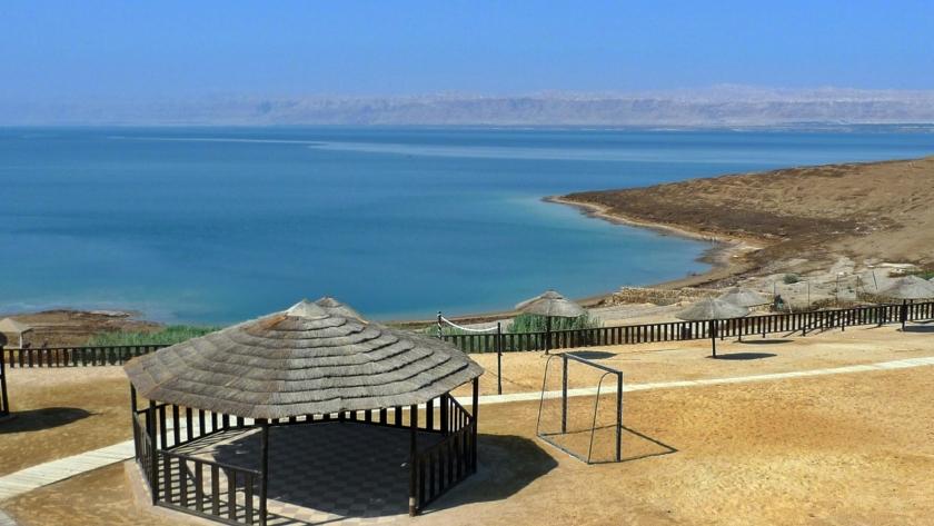El mar Muerto,  desde la orilla de Jordania