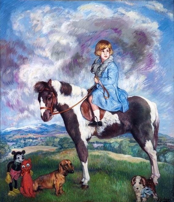 Cayetana sobre su poni, rodeada de perros y muñecos, fuente imagen: Internet